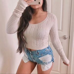 Free people cute cropped knit pullover sweater